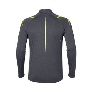 ASICS Tee-shirt manches longues Icon LS 1/2 ZIP Homme Gris / Jaune