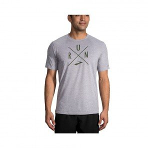 BROOKS Tee-shirt Distance Graphic Homme   Gris